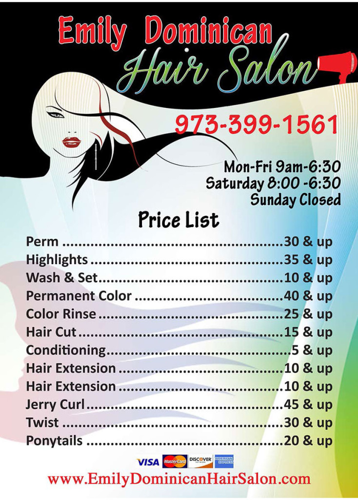 haircut places open on sunday near me emily hair salon emily hair salon in 2785 | Emily dominican hair salon price list 734x1024